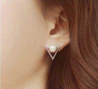 12 mm earring Canada - 12 pair,Trendy Pendant Earrings Inlaid 8 mm Pearl alloy frame anti allergy Earrings Not fading Triangle modelling Dangle & Chandelier
