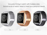 tracker cartes sim achat en gros de-Bluetooth Smart Watch Téléphone Z60 Support En Acier Inoxydable Carte SIM TF Carte Caméra Fitness Tracker GT08 GT09 DZ09 V8 Smartwatch pour IOS Android