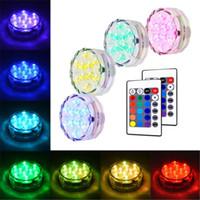 base de luz floral al por mayor-Luces sumergibles RGB IP67 con Control remoto Decoración floral para Acuario Estanque Jarrón Base Fiesta Boda Halloween Navidad