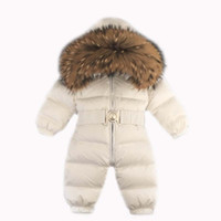 ingrosso jumpsuit anno bambino-Pagliaccetto per neonato invernale Snowsuit Infant Overcoat Kids Snow Wear Tuta Duck Down Coatton Liner Bambino Costumi di Capodanno