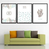 abstrakte gemälde wellen großhandel-Nordic HD Print Poster Wand Abstrakt Schöne Pflanze Und Welle Punkt Leinwand Kunst Bild Gemälde Vintage Wohnzimmer Wohnkultur
