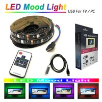 Wholesale flat monitors - LED mood light strips 5050 RGB 200cm 60 LEDs for TV PC monitor with RF wireless 10key remote controller 5V usb powered