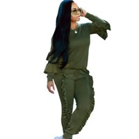 survêtement vert jaune achat en gros de-2018 automne casual o cou 2 deux pièces ensemble femmes jaune vert Pull Hoodies et Costume Pantalon dames loisirs survêtements plus la taille