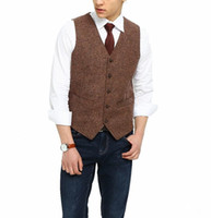 Wholesale plus size linen suit for sale - Group buy 2018 British Country Style Farm Wedding Brown Wool Herringbone Tweed Vests Custom Made Groom s Suit Vest Slim Fit Wedding Vest Men Plus Size