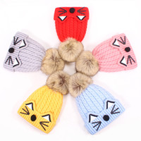 Wholesale crochet cat beanie baby hats for sale - Group buy Fashion Cute Baby Winter Warm Beanie Hat Baby Toddler Knitted Double Ball Knitted Cap Children Hats Children Crochet Cat Cap