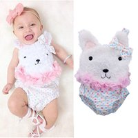 Wholesale Fluffy Animals - Baby Fluffy Bear Romper Infant Newborn Girls Jumpsuits with Bow 100% Cotton Bear Ears Vest Sleeveless 9-24M