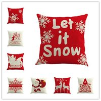 Wholesale Merry Christmas Pillows Case flax Xmas Pillow Cover Reindeer Elk Christmas tree Sofa Cushion Covers Santa Claus Christmas Decorations