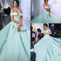 Wholesale Mint Beaded One Shoulder Dress - Mint Green Csiriano Cinderella Moments with Prom Dresses 2018 Modest Matte Stain off Shoulder Dubai arabic Celebrity Red Carpet Dress