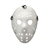 Wholesale scary man halloween costume online - Scary Horror Festival Party Halloween Mask All White Jason Masks Masquerade Costume Decor Men Hot Sale qc gg
