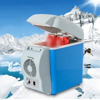 chauffage boîte de refroidissement achat en gros de-7.5 L Camping En Plein Air Portable Mini Voiture Réfrigérateur Boisson Refroidisseur Alimentaire Boîte Fruits Frais-conservation Réfrigération Chauffage Universel NNA83