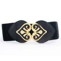 ingrosso strisce in rilievo delle cinture-Nuove donne di design ampia cintura elastica cinghie doppia cintura a forma di cuore strass fibbia cinture cintura moda cintura cinturino