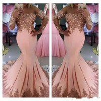 Wholesale Sexy Middle East Black Applique - 2018 Formal Middle East Prom Dresses Long Sleeves Lace Appliques Mermaid Evening Party Gowns Pearls Vestidos De Fiesta