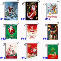 ingrosso bandiere del giardino di natale-Christmas Garden Flags 30 * 45cm Outdoor Hanging poliestere Garden Bandiere Decorazioni di Natale Xmas Halloween Party House Decoration HH7-1284