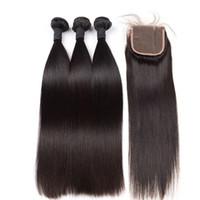doğal insan saç kapatmaları toptan satış-10a Sınıf Brezilyalı Bakire Saç Dantel Kapatma ile 3 Parça doğal Renk 100% İnsan Saç Toptan Demetleri Bakire Saç Ücretsiz Nakliye Sıcak Satmak