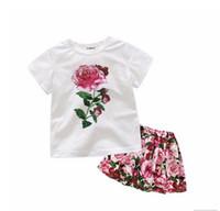 meninas do bebê rosa camisetas venda por atacado-Bebê Meninas Roupas Grandes Imprimir Floral Tops Tee + Completa Shivering Rosa Saia 2 PCS Conjuntos de Roupas Crianças Meninas Roupas Ternos