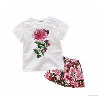 bebek kızları pembe tee toptan satış-Bebek Kız Giysileri Büyük Çiçek Baskı Üstleri Tee + Tam Titreme Pembe Etek 2 ADET Giyim Setleri Çocuklar Kız Giysileri Suits