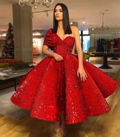 vestido drapeado curto e azul royal venda por atacado-Chá vermelho Comprimento Prom Vestidos 2019 Um Ombro Backless Lantejoulas Drapeado Curto Homecoming Cocktail Party Vestidos de Noite Red Carpet Wear