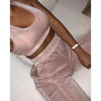 Wholesale match clothing for sale - Group buy KGFIGU Women two piece set top and pants summer piece set women tracksuit matching sets pink womens clothing