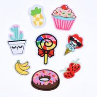 nakış rozetleri tasarla toptan satış-Özel Tasarım Nakış meyve Rozeti Yamalar Giyim Demir on Transfer için Aplike Sticker için Şapka Ceket Kot DIY Çanta Yamaları