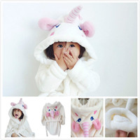 Wholesale thick nightgown - 2018 Cute Baby Pink Unicorn Corn Flannel White Bathrobes Girls One-piece Long Home Suit Children's Nightgown Thick Warm Long Sleeve