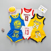 Wholesale baby clothes wholesalers - HOT Baby Boys Girls Sports Sets Children Basketball sports suits Rockets T Shirts Shorts Sets Kids Clothing