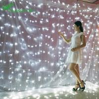 cortinas de cascada al por mayor-Navidad 3 * 3m 300 Estrellas Cortina Luces de cascada Decoraciones navideñas Adornos de Año Nuevo Decoración de Navidad Año Nuevo