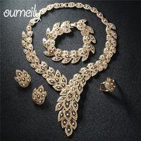 schmuck für hochzeiten großhandel-OUMEILY Nigerianischen Perlen Halskette Schmuck-Set Für Frauen Hochzeiten Nachahmung Kristall Brautschmuck Sets Party Schmuck Kostüm