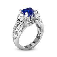 череп кольцо синее оптовых-Творческий мода классический череп Циркон кольцо женский Алмаз синий камень Европа и американские ювелирные изделия