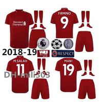 Wholesale quality soccer kits - Best quality 2018 2019 M.SALAH home soccer jersey MILNER kit 18 19 GERRARD MANE FIRMINO VIRGIL LALLANA SALAH football shirts uniform