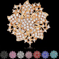 Wholesale Victorian Brooches - High Quality Sparkly-Gold Plated Clear Rhonestone Crystal Flower Victorian Flower Pin Brooch 8 colors for choices