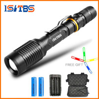 Wholesale battery aluminum - Brand LED flashlight torch 8000Lumens CREE T6 zoomable led torch For 2x18650 batteries aluminum+charger+Gift box+Free gift