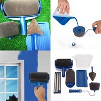 Wholesale roller brush painting - Pintar Facil Paintbrush Multi Function Flocking Roller Paint Brush Suit Seven Piece Set Blue Household Sundries Most Cheap 42ml VY