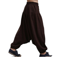 xxl geniş bacak pantolonu toptan satış-Erkek Çapraz pantolon kasık pantolon, geniş bacak pantolon dans Harem pantolon pantskirt bloomers Harem pantolon artı boyutu M-5XL