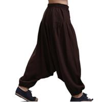 Wholesale wide crotch pants resale online – Men s Cross pants crotch pants wide leg pants dancing Harem pants pantskirt bloomers Harem trousers plus size M XL