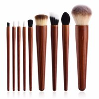 Wholesale brow concealer online - 9Pcs set Soft Hair Makeup Brushes Set Red Wood Handle Foundation Power Eye Shadow Brow Concealer Blending Contour Beauty Brush Tools Kits