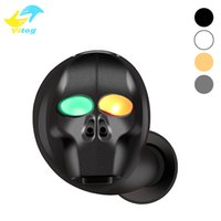 Wholesale skulls headphone - SK20 Skull Mini Stereo Bluetooth Headphones wireless V4.1 Bluetooth Handsfree earphone Connect with 2 phones for iphone Samsung