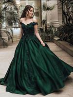 vestidos de noche de encaje princesa línea al por mayor-Verde oscuro de la princesa vestidos de baile para la fiesta de graduación fuera del hombro Tops Una línea de longitud de apliques de encaje vestidos de noche por encargo