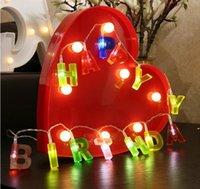 ingrosso lampade di luci felici-2018 nuovo design Lettera Buon compleanno lampada LED String Lights Home bambini Bambini ragazzi ragazze Compleanno baby shower Decorazione del partito
