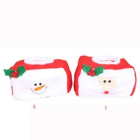 Wholesale christmas tissue box cover - Christmas Tissue Box Cover Bags Decoration Home Party Santa Claus Tissue Box
