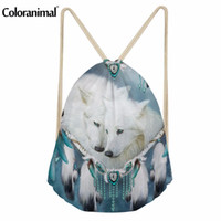 ingrosso zaini viola per le ragazze-Coloranimal White Purple Drawstring Bag Zaino 3D Cool Animal Wolf Stampa donna Casual Mini Zaino Boy Girl Schoolbag