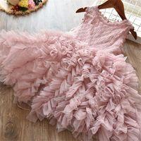 ingrosso vestito di compleanno rosa delle neonate-Neonate Vestiti Piccola Principessa Pizzo Torta Tutu Telai Abito Abiti estivi Bambini Compleanno Rosa Vestido Infantil Menina 3 4 6 8 Anni Ragazza