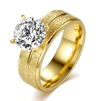 ingrosso gioielli in zircone-Elegante CZ Zircon Ring Donna Wedding Band in oro colore acciaio inossidabile lucido gioielli in pietra femminile fidanzamento delicato gioielli regalo di San Valentino