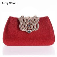 Wholesale red diamond pictures resale online - gold clutch full luxury diamond crown evening bags silver evening clutch party purse glitter wedding bags real picture