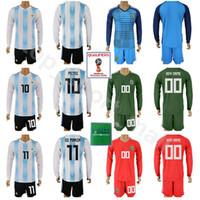 Wholesale football angels - Argentina Long Sleeve Set 2018 World Cup 10 Lionel Messi Soccer Jersey Kits 11 Angel Di Maria 1 Nahuel Guzman Football Shirt With Short Pant
