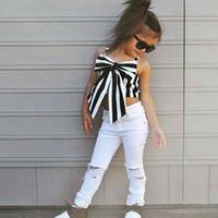 короткие джинсы для детей оптовых-полоса детская мода комплекты одежды для девочек без рукавов роза с принтом рубашка + шорты джинсы детские комплекты для девочек