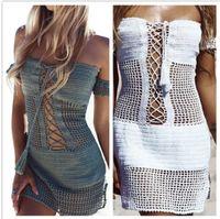 einhand-stil kleider großhandel-Hot style Von Hand gehäkeltes One-Word-Schulter-Dressing-Kleid sexy ausgehöhlter Strick-Strandkittel-Badeanzug