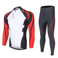 Wholesale long sleeve padded shirts - Super sell-XINTOWN Men's New Breathable Cycling Jersey Bike Long Sleeve T-Shirt Tops Padded Long Pants Sports Wear Kit