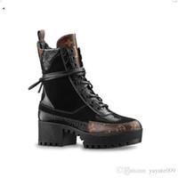 botines de plataforma de lona al por mayor-Mejor marca de cuero mujeres Laureate plataforma de 5 cm Desert Boot Designer Botas de lona de tobillo grueso tamaño de embalaje UE35-42