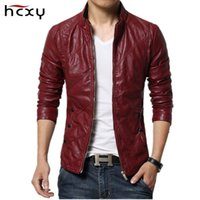 Wholesale leather hooded biker jacket men - 2017 brand-clothing spring slim fit Men's leather jacket and coat faux PU leather biker jackets male fur coat motorcycle jacket