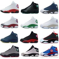 Wholesale famous leather basketball shoes resale online - Famous Trainers XIII hot air New13 Hologram Mens womens Sports Basketball Shoes Barons white black grey teal
